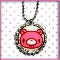 Gloomy Bear Bottle Cap Necklace Bottle Cap Necklace, Pendant Necklace, Kawaii Jewelry, Bear, Bears, Drop Necklace