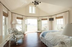 Magnificent Master Bedroom in this Coastal Maine beach house. JS Interiors, Boston, MA. Trent Bell photo. O.O