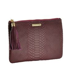 Burgundy All in One Bag | Embossed Python Leather | GiGi New York - ON SALE 50% off = $52 with adorable gold monogramming available!