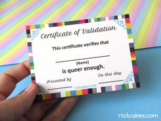 Too often do queer people feel that they are not queer enough to belong in the LGBTQ* community. You do belong. You are queer enough. Now you and your queer friends can hand out these certificates to each other to dispel any doubt.  This notepad has 50 sheets printed on recycled paper. The