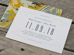 Vintage Marbled Art Moderne Wedding Save the Date Card - Stock Sample, Digital Proof, Personalize Sample, Order Deposit