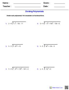 Worksheets Multiplying And Dividing Polynomials Worksheet dividing polynomials worksheets math aids com pinterest with long division worksheets