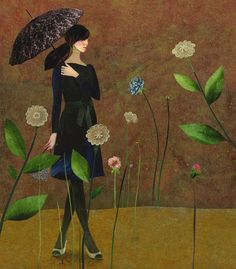 ⊰ Posing with Posies ⊱ paintings of women and flowers - Karine Daisay