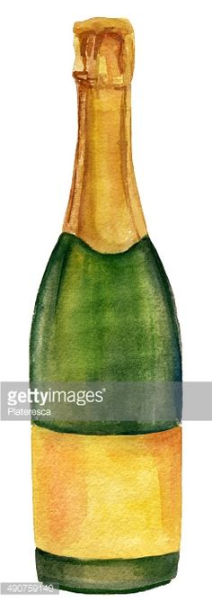 Stock Photo : Bottle of champagne, watercolor drawing, on white background