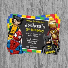 Lego Superheroes Chalkboard Birthday Invitation Digital File; You Print on Etsy, $11.08 AUD