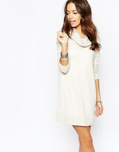 Only Long Line Waffle Sweater Dress with Roll Neck