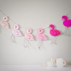Ombre Pink flamingo garland seis flamencos con picos de