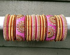 Baby Pink and Gold Silk Thread Bangles ~ Set of 18 - Silk Thread Woven Bangles ~ Ethnic Indian Accessory