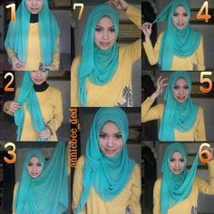 This is a gorgeous hijab look, with a twist touch and a large flowing side for any special occasion or event, the color of the hijab is also beautiful and would swuit a white maxi dress with some teal jewels. Best Maxi Dresses, Hijab Wedding Dresses, Hijab Bride, Event Dresses, White Maxi Dresses, Square Hijab Tutorial, Pashmina Hijab Tutorial, Hijab Style Tutorial, Hijab Turban Style