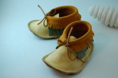 Leather Moccasins  Double Fringe by loveyloubaby on Etsy, $32.00