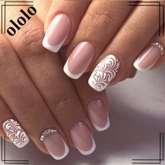 Refined and sophisticated manicure plays an important role in the external image of girls and women who observe themselves and wish to be the center of attention, captivating the admiration and pro… Nail Art Designs, Bridal Nails Designs, Nail Polish Designs, Wedding Manicure, Wedding Nails For Bride, Bride Nails, French Manicure Gel Nails, French Manicure Designs, Minimalist Nails