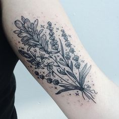 Healing botanicals with fireweed and lavender on inner upper arm. Thanks Kat!