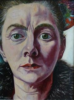 Charley Toorop - - self-portrait with Fur Collar, 1940 (Sheringa Museum voor Realisme, the Netherlands) Self Portrait Artists, L'art Du Portrait, Famous Self Portraits, Tableaux Vivants, Dutch Painters, Art Graphique, Figurative Art, Female Art, Painting & Drawing