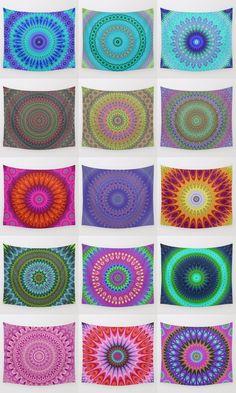 Mandala wall tapestry collection. Mandala - boho chic - ethnic - oriental - ornament - kaleidoscope tapestries - wall hangings.