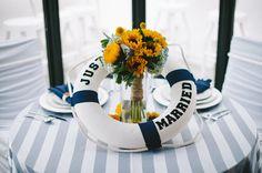 Amor à bordo: decoração azul e branca