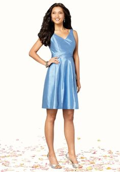 Simple Tempting V-neck Straps Sky Blue Satin Knee Length Dress