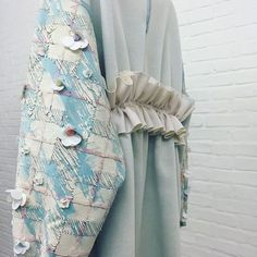 MA Collection at London Fashion Week   #MAFashion #jodieruffle #fashion #textiles #embroidery #sequin #flower #embellishment #concrete #collage