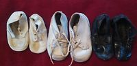 Vintage Lot 3 Baby Shoes Leather Black White