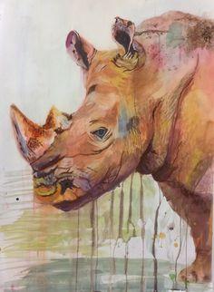 Alex white- rhino, watercolour and pastel