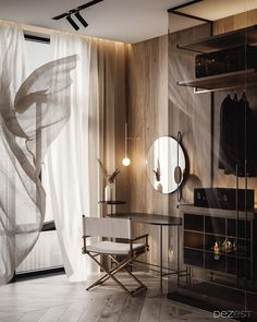 Dark, Warm & Welcoming Apartment A welcoming home design with chic dark decor and modern furniture pieces. Open plan living room with a glass closet & a luxury bedroom with glass wall ensuite. Residential Interior Design, Contemporary Interior Design, Luxury Interior Design, Modern Interior, Residential Lighting, Modern Contemporary, Decoration Inspiration, Decoration Design, Decor Ideas