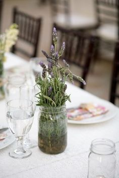 Red Barn Ranch Wedding, Simple wedding idea, lavender in mason jar for a rustic wedding