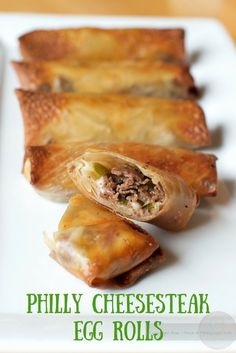These egg rolls have all your favorite flavors of a Philly cheesesteak rolled in an egg roll wrapper. Baked in an air-fryer these cheesesteak egg rolls will be a favorite for an appetizer or as a football food. Air Fry Recipes, Egg Roll Recipes, Beef Recipes, Great Recipes, Cooking Recipes, Healthy Recipes, Deep Fryer Recipes, Air Fryer Recipes Egg Rolls, Recipe For Egg Rolls