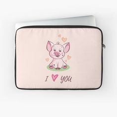 'I Love You Cute Baby Piggy' Laptop Sleeve by duyvolap Love You Cute, My Love, Back To Black, Laptop Sleeves, Cute Babies, Plush, Stickers, Printed, Awesome