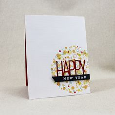 the confetti toss stamp set from papertrey ink provides the inspiration for this handmade new year card use your favorite colors to create the
