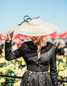Hat by Louise MacDonald and ME, wearing silk Julie Goodwin Couture Race Wear, Spring Racing, Derby Day, Australian Fashion, Dressmaking, Frocks, Panama Hat, Melbourne, Couture