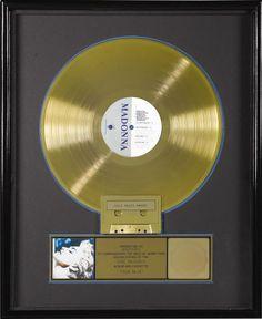 "Madonna ""True Blue"" RIAA Gold Album Award"