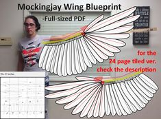 Mockingjay Wing Blueprint - PDF Printable by - Flügel - Welcome Bird Wings Costume, Crow Costume, Cosplay Wings, Cosplay Diy, Diy Costumes, Cosplay Costumes, Halloween Costumes, Halloween Rules, Halloween 2019