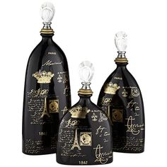 Featuring gold French royalty inspired text, this elegant decorative ceramic bottle will make a beautiful addition to tabletop.