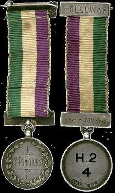 "There was also a Hunger Strike Medal, a bar pin, inscribed ""For Valour."" Two of the three that still exist belonged to Mrs. Pankhurst and Lady Constance Lytton. Women's Liberation Movement, Suffrage Movement, Suffragette Jewellery, Suffragette Colours, Modern Feminism, Royal Colors, Yesterday And Today, Women In History, Hunger Strike"