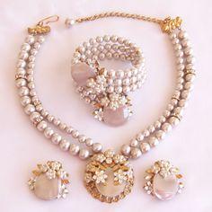 Vintage Miriam Haskell Style Pearl Rhinestone Necklace Bracelet Earring Parure Big Pix