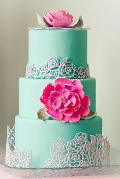 Mint Wedding Cake with Embroidered Sugar Flowers   Vintage Charm in Mint Green