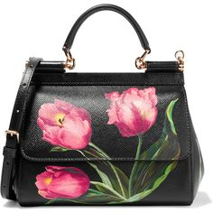 """Dolce & Gabbana """"Sicily"""" small floral-print textured-leather shoulder bag made in Italy Dolce & Gabbana, Dolce And Gabbana Purses, Floral Shoulder Bags, Shoulder Handbags, Pink Handbags, Purses And Handbags, Crossbody Bag, Satchel, Fashion Bags"""
