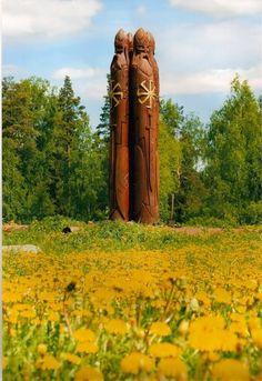 Idols of Perun the Sun god. The Sun wheel is a common symbol in Slavic mythology