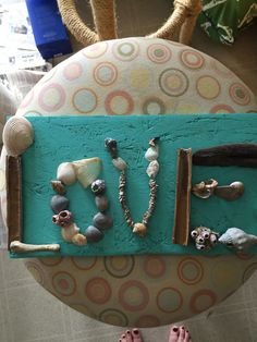 Seashell craft. All things found on Valentine's Day while on a weekend trip to the beach