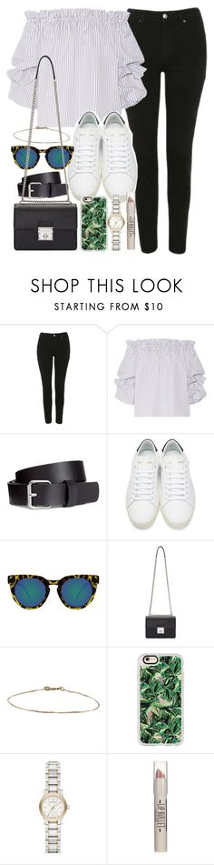 """""""Outfit with an off-the-shoulder top"""" by ferned ❤ liked on Polyvore featuring Topshop, Caroline Constas, H&M, Yves Saint Laurent, Quay, Dolce&Gabbana, Casetify and Burberry"""