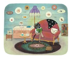 Tea, Cake and a Good Book - Giclee Print - Whimsical Cat lounging at the Cat Cafe Thing 1, Cat Cafe, Tea Cakes, Fine Art Paper, Good Books, Giclee Print, Original Artwork, Cat Lovers, Whimsical