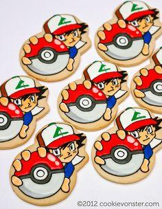 Ash with a Pokeball - Pokemon custom cookies Pokemon Cupcakes, Pokemon Party, Pokemon Birthday, 7th Birthday, Birthday Ideas, Character Cakes, Kid Character, Cookies For Kids, Cute Cookies
