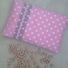 Bouillotte sèche déhoussable rectangulaire romantique aux noyaux de cerise en tissus rose et beige à pois : Soin, bien-être par nymeria-creation