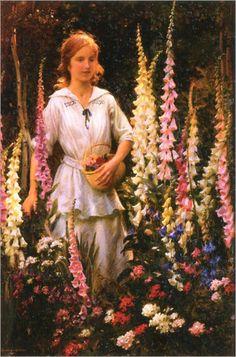 A Corner of Grandmother's Garden-1916-Charles Courtney Curran