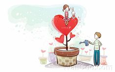 Young Love - Valentine Cute Couple illustrations  - Love Tree - Valentine Couple, Valentine's Day illustrations 11