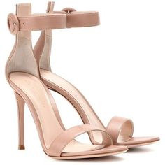 Gianvito Rossi Portofino 105 Leather Sandals found on Polyvore featuring shoes, sandals, heels, neutrals, gianvito rossi, nude sandals, leather footwear, leather shoes and gianvito rossi sandals