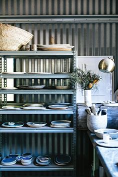 Ceramics line the shelves in Anna's studio. Some of these were made with the assistance of Anna's daughter, Poppy Side Plates, Small Plates, Poppy Photography, Pantry Storage, Timber Flooring, Modern Country, Home Studio, Organic Shapes, Ceramic Plates