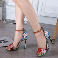 0d7a714c576d Stylish Open Toe Flower Decorative Stiletto Super High Heel PU Ankle Strap  Sandals to see more information size and offer please clic.