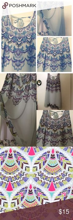 Sequin Havana print sheer layered tie back dress M Size medium, Tie back at upper back, Tank-style top, sheer fabric with lining under, sequins on front, print on both sides on bodice and near the bottom. ?s just ask! Tag says L but fits M Angie Dresses Midi