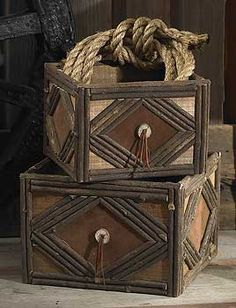 ... nesting baskets are great for storing your treasures in western style. Made of natural wood, twig and suede and feature concho-like decorative accents.