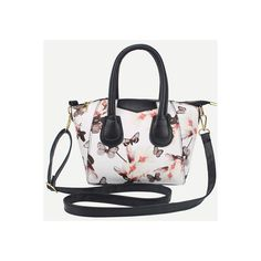 SheIn(sheinside) White Zipper Florals PU Bag ($7.90) ❤ liked on Polyvore featuring bags, handbags, shoulder bags, white, convertible purse, flower print handbags, zipper purse, floral handbags and zip purse